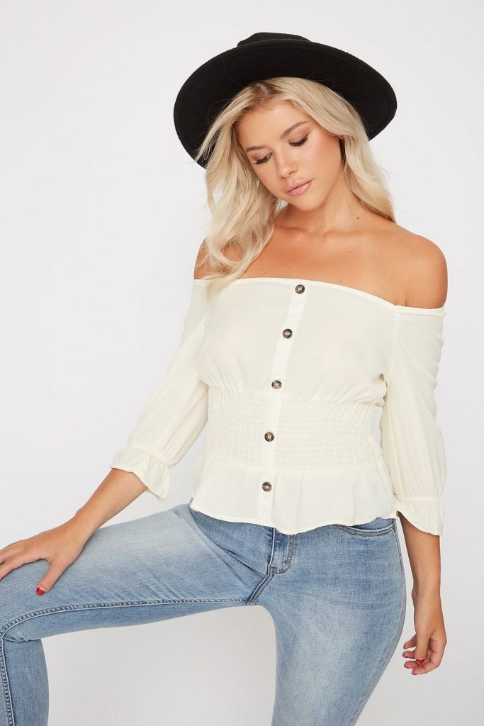 smocked button blouse