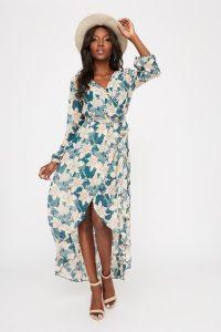 wrap high low maxi dress