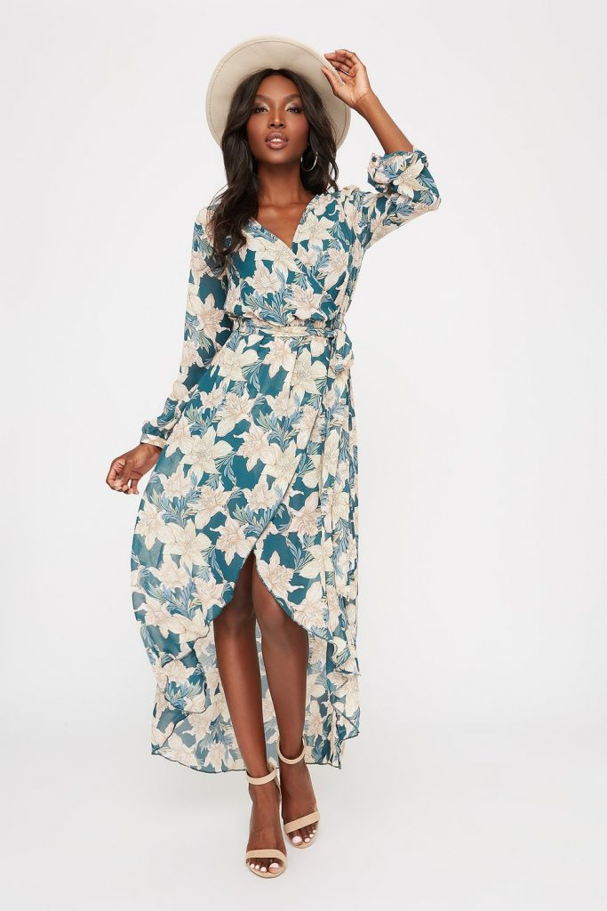 wrap high low maxi dress
