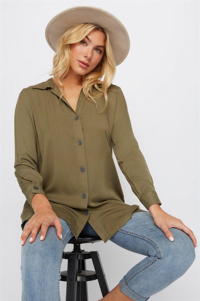button up longline shirt