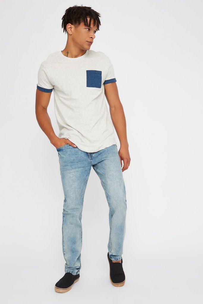 men's light wash slim jean