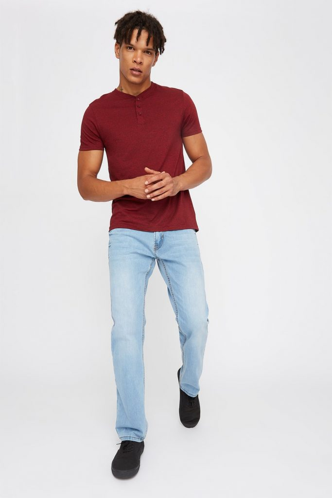men's light wash straight jean
