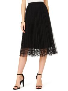 mesh pleated skirt
