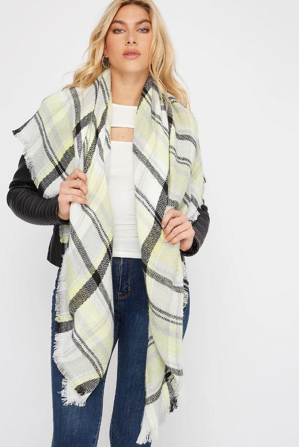 plaid knit scarf
