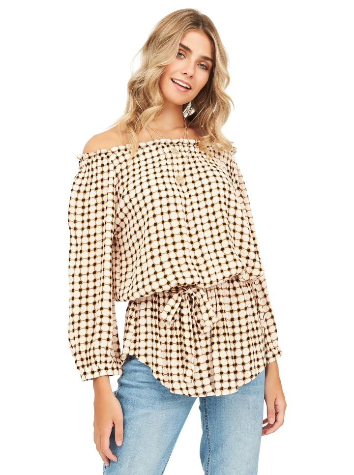 printed off the shoulder top