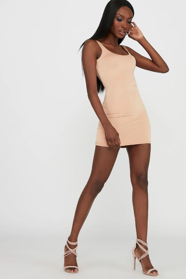 ruched back mini dress