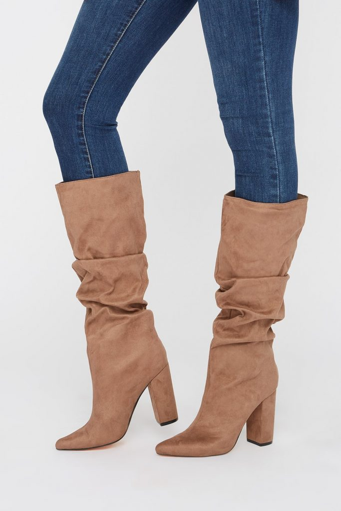 ruched heel knee high boot