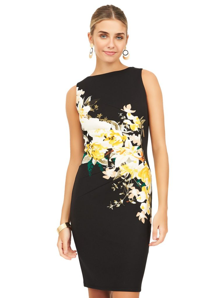 sleeveless floral sheath