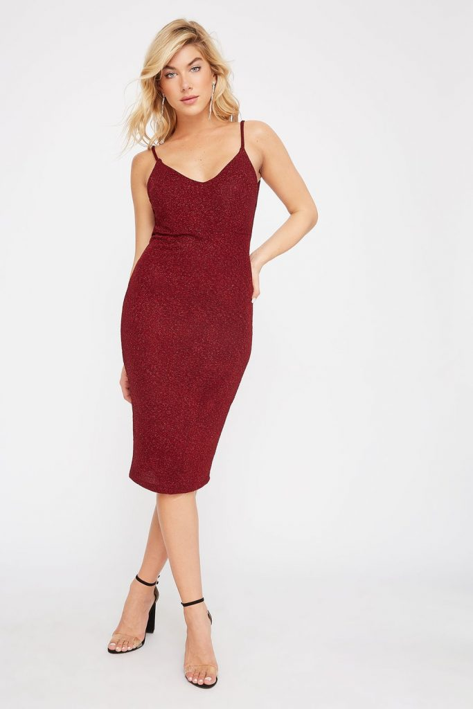 sparkle cowl midi dress