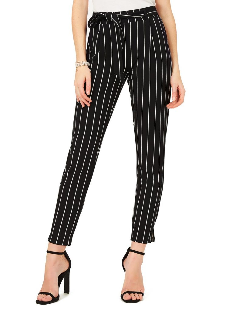 striped crepe pant