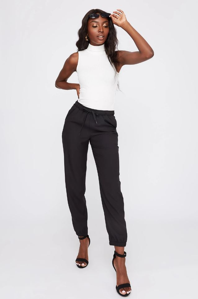 twill high rise jogger