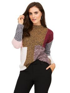 SZ patchwork crew neck sweater $38.00