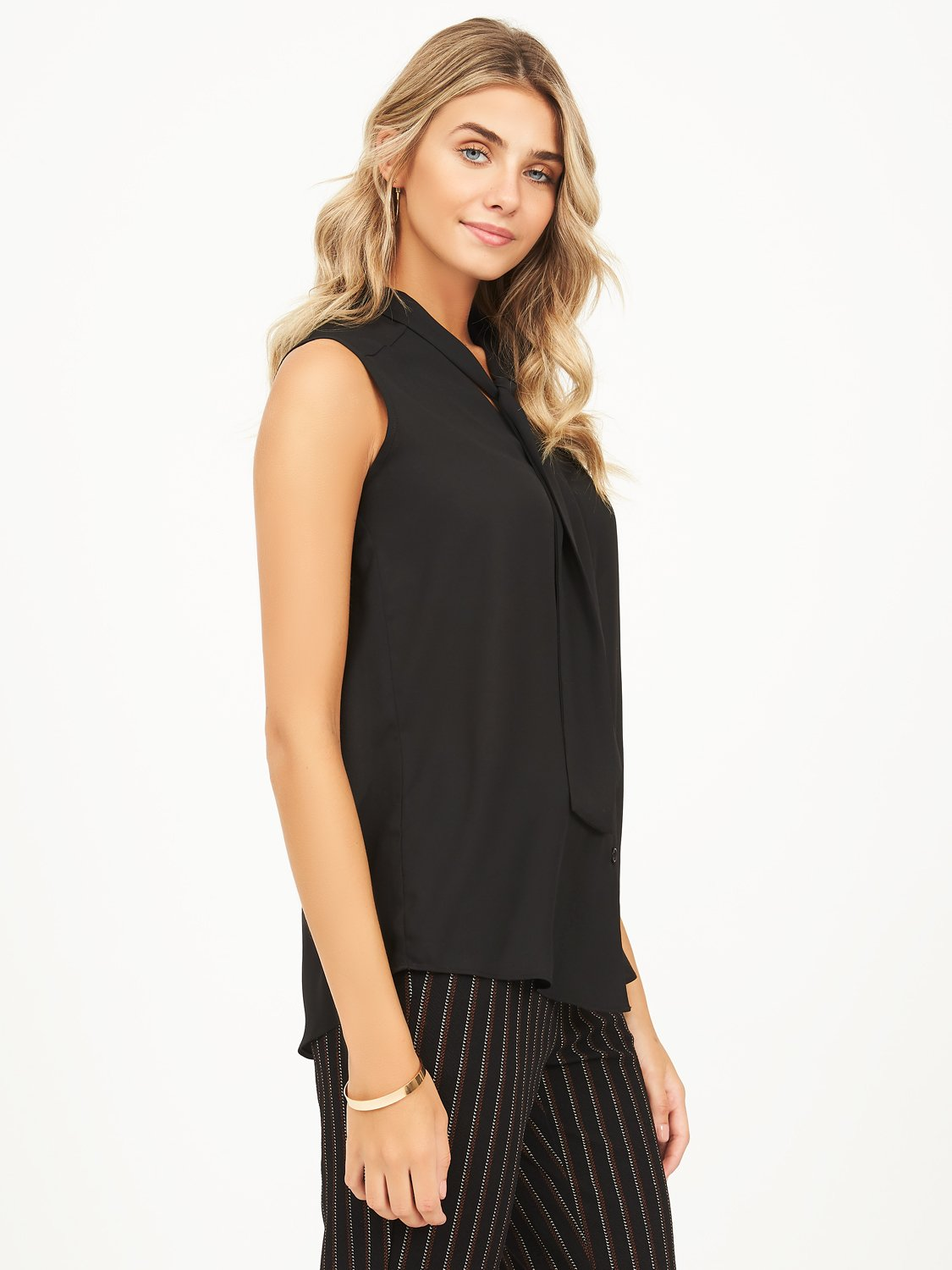 chiffon blouse with neck tie
