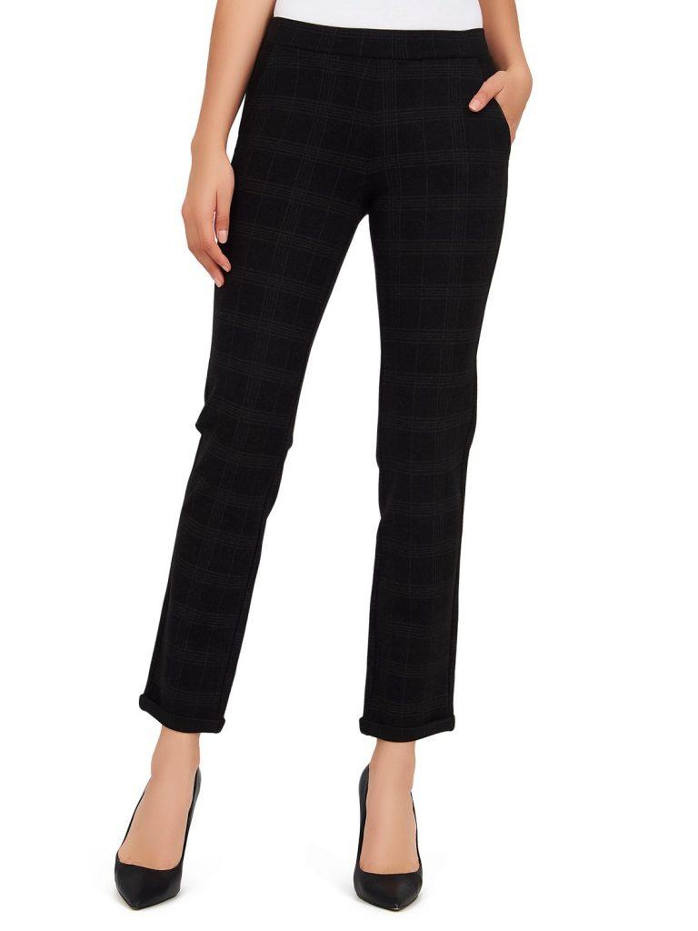 cuffed check print pants