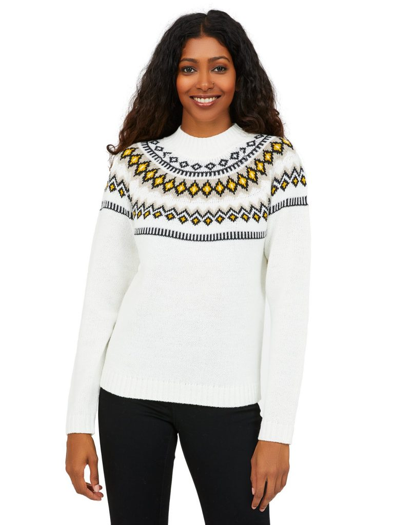 fair isle jacquard knit sweater