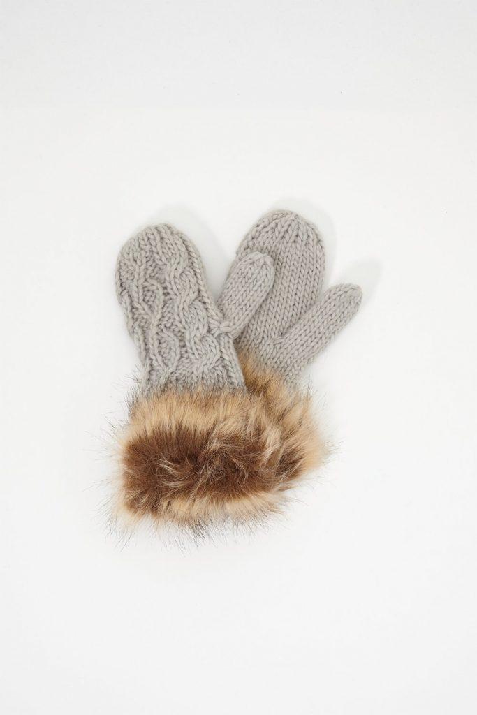 faux fur mittens