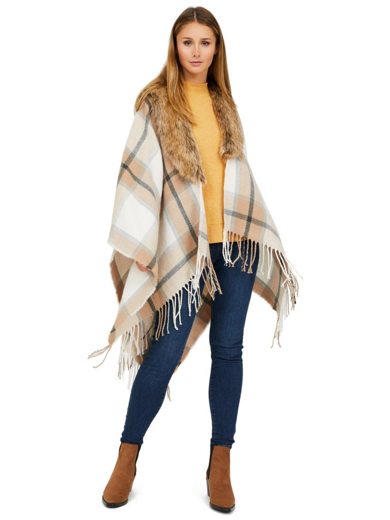 faux fur plaid cape