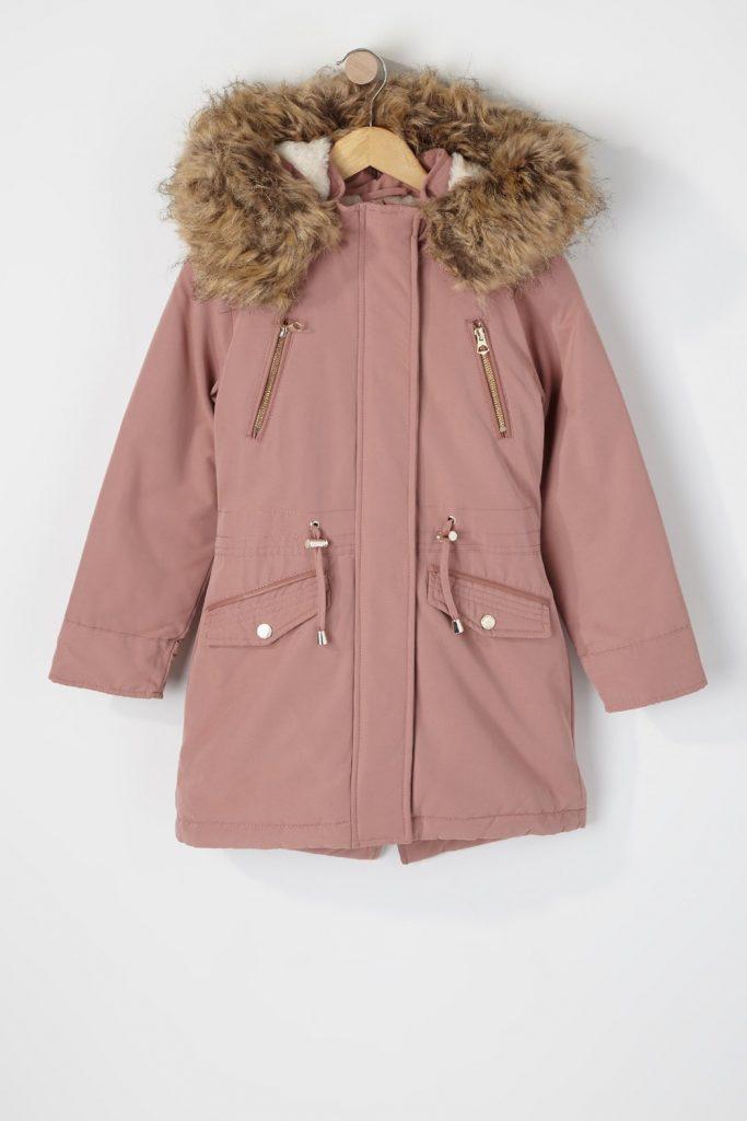 girls faux fur parka jacket