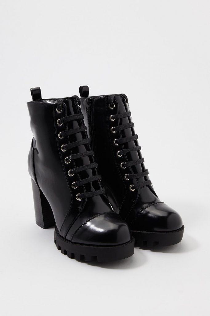 lace up heel bootie