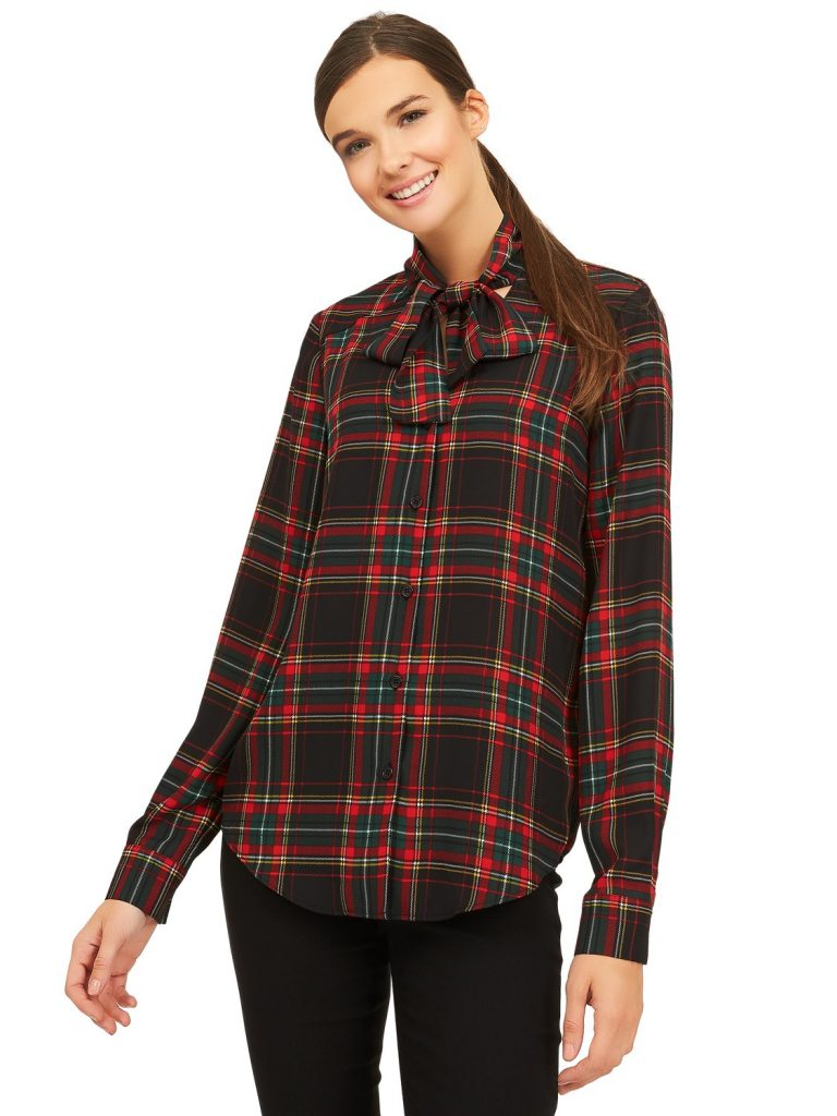 plaid chiffon blouse