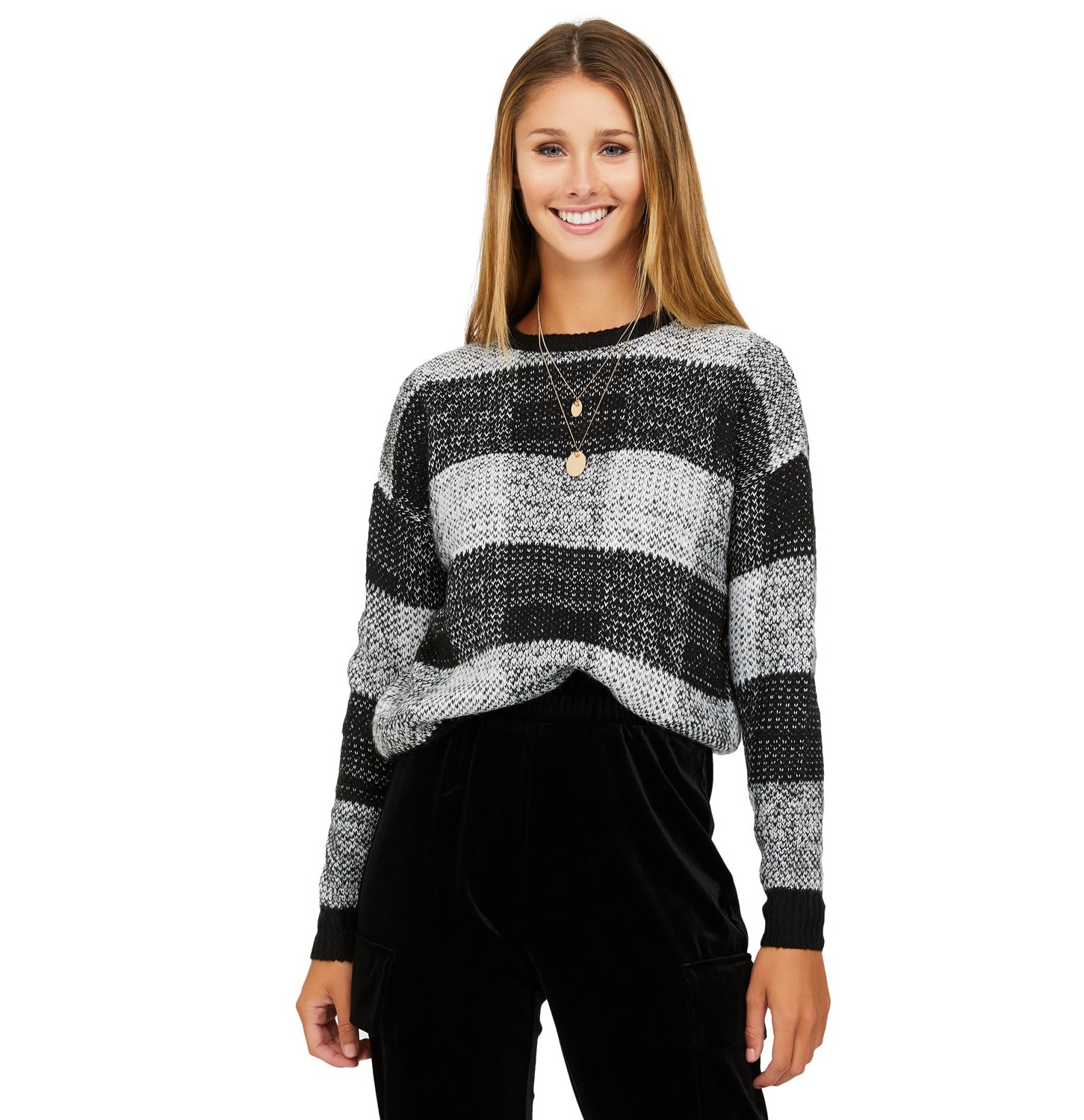 plaid crew neck sweater