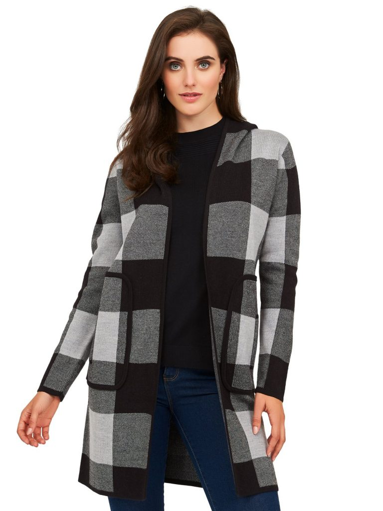 plaid sweater coatigan