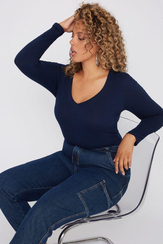 plus-size blue monochrome outfit