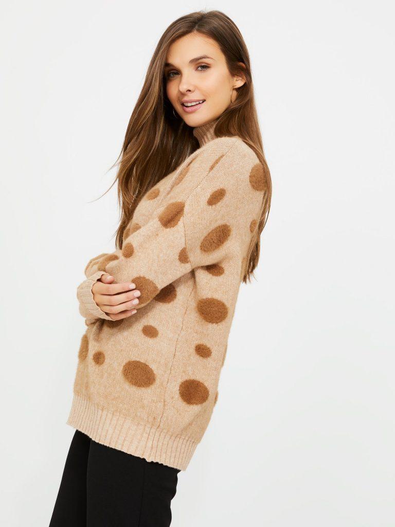 polka dot turtleneck sweater