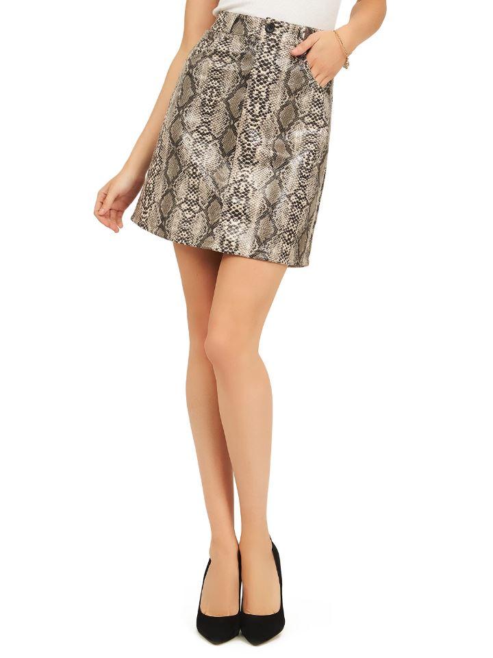 reptile print skirt