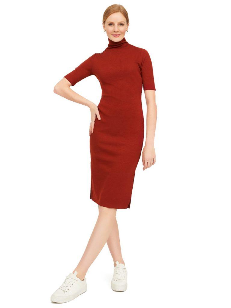 rib knit mock neck dress