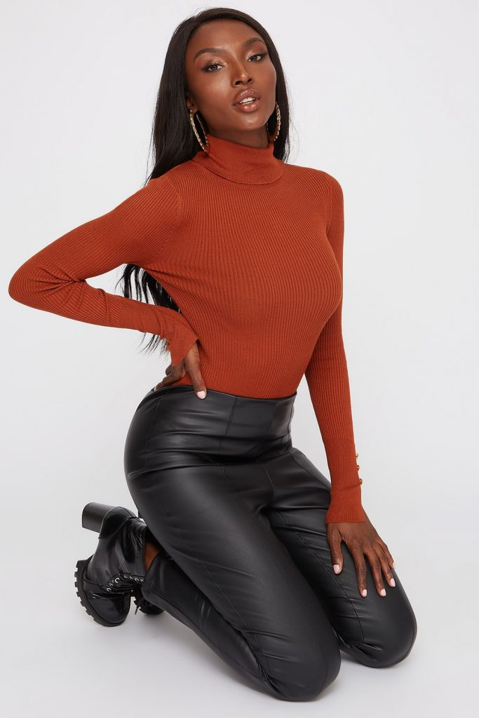 ribbed turtleneck long sleeve