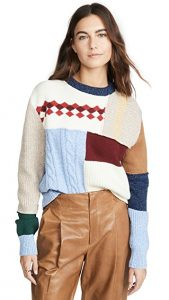 shopbop patchwork crew neck sweater $410.00