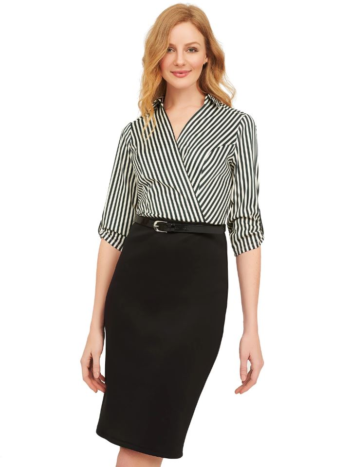 striped shirt and skirt one piece