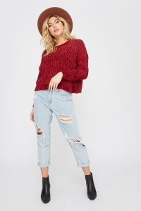 women's chenille boxy sweater