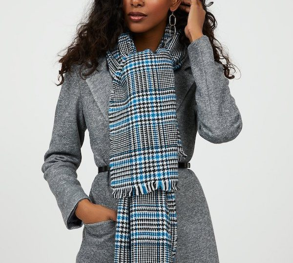 Fringe Houndstooth Plaid Scarf