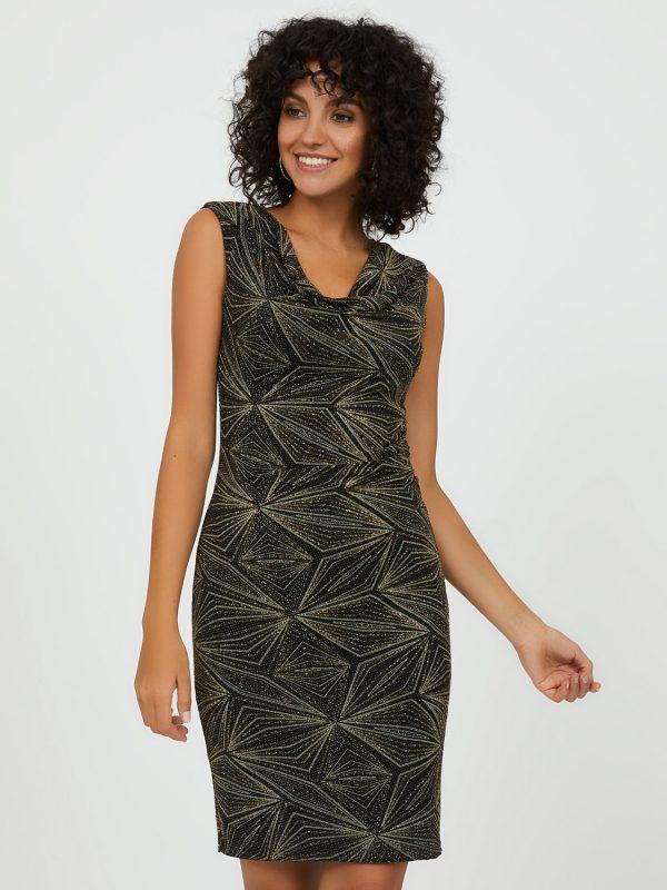 Geometric Glitter Knit Sheath Dress